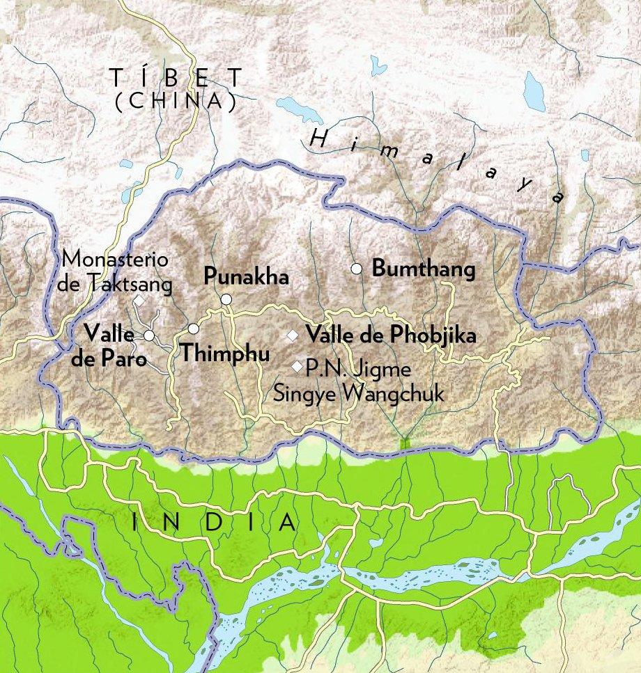 Mapa de Butan. Cinco lugares clave
