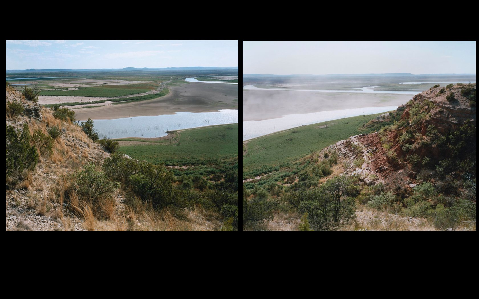 14-hillside-reservoir-before-after. Embalse E. V. Spence, Texas