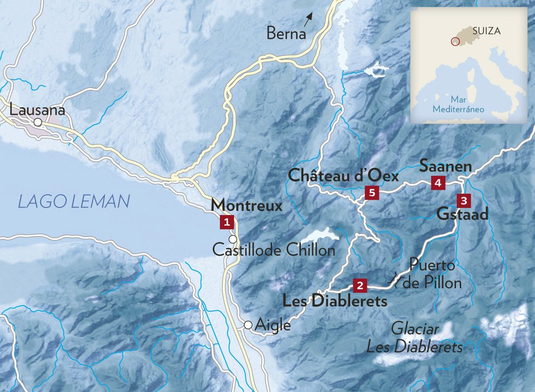 mapa alpes. Del Lago Leman a Gstaad