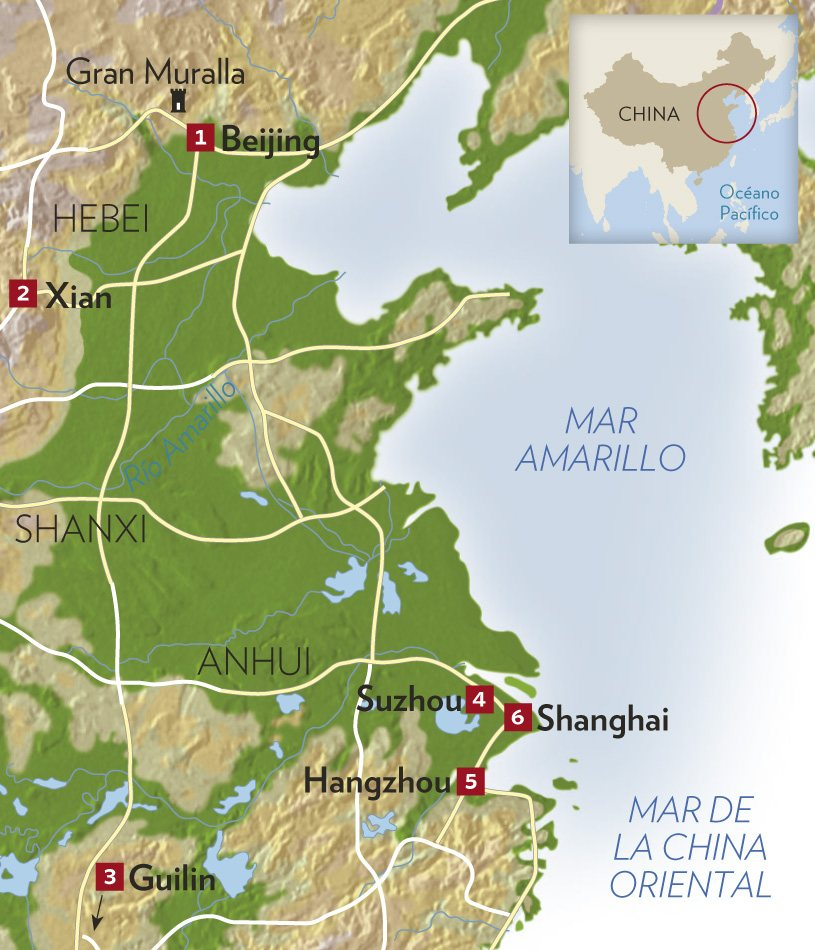 mapa china. Seis etapas imprescindibles