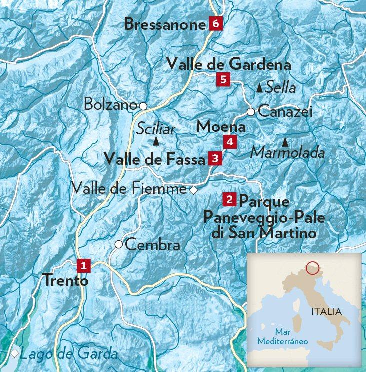 dolomitas italia mapa Montes Dolomitas, en el norte de Italia dolomitas italia mapa