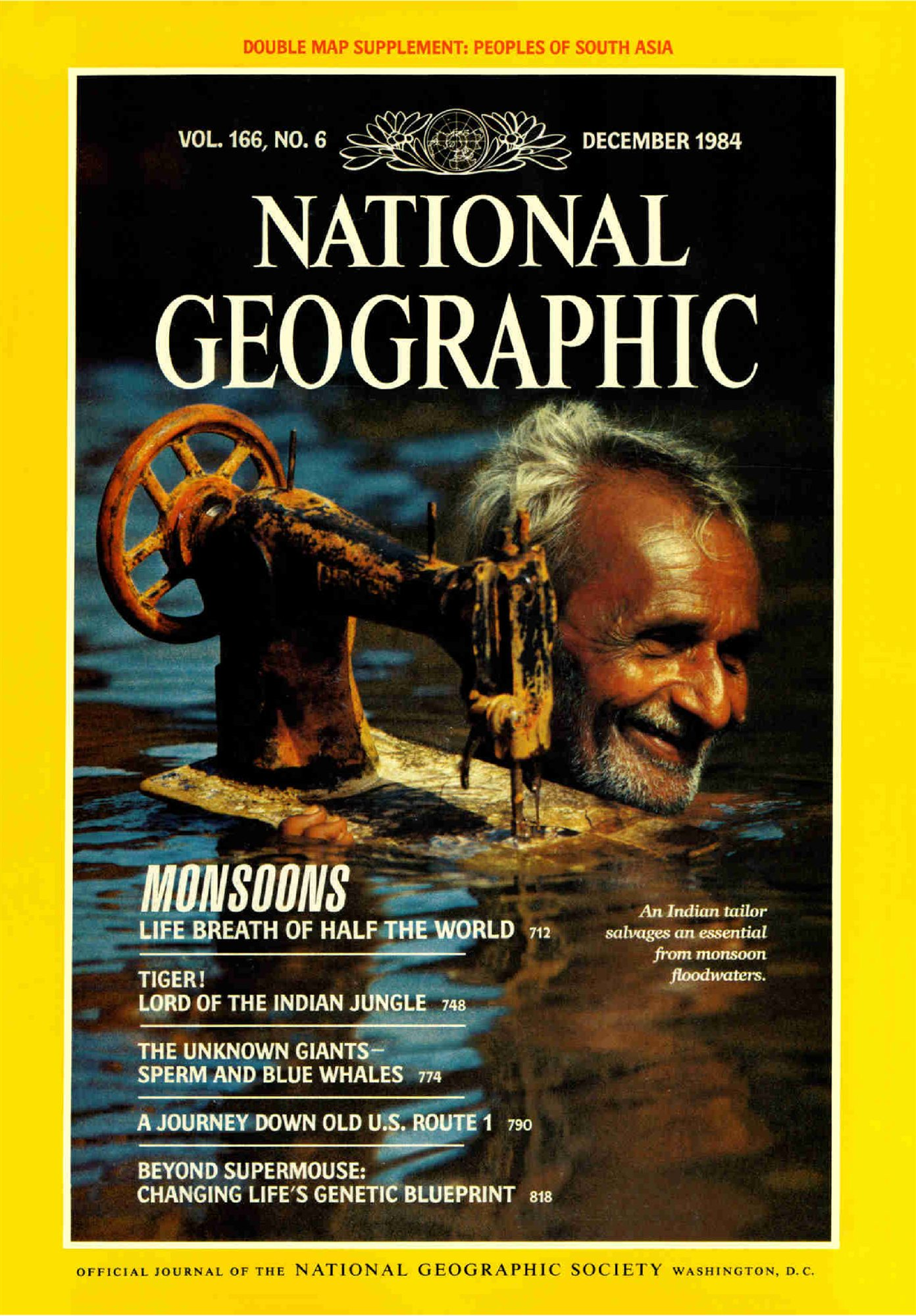Portada National Geographic: Monsoons. Portada del número de diciembre de 1984 de National Geographic