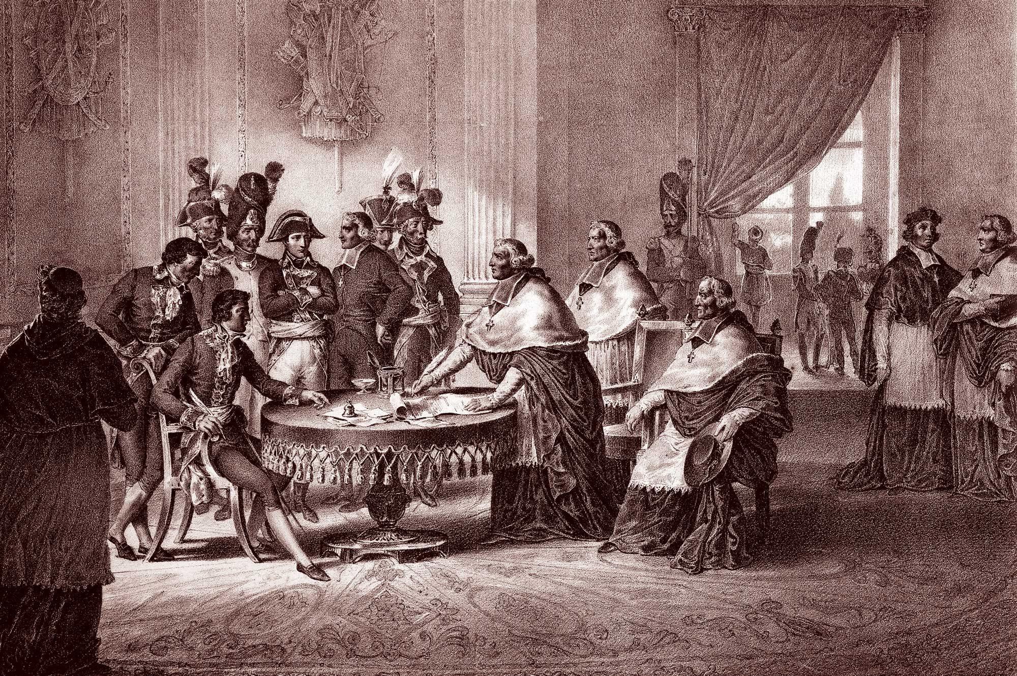 Resultado de imagen para Fotos de la concordato firmado entre Napoleón Bonaparte y el papa Pío VII