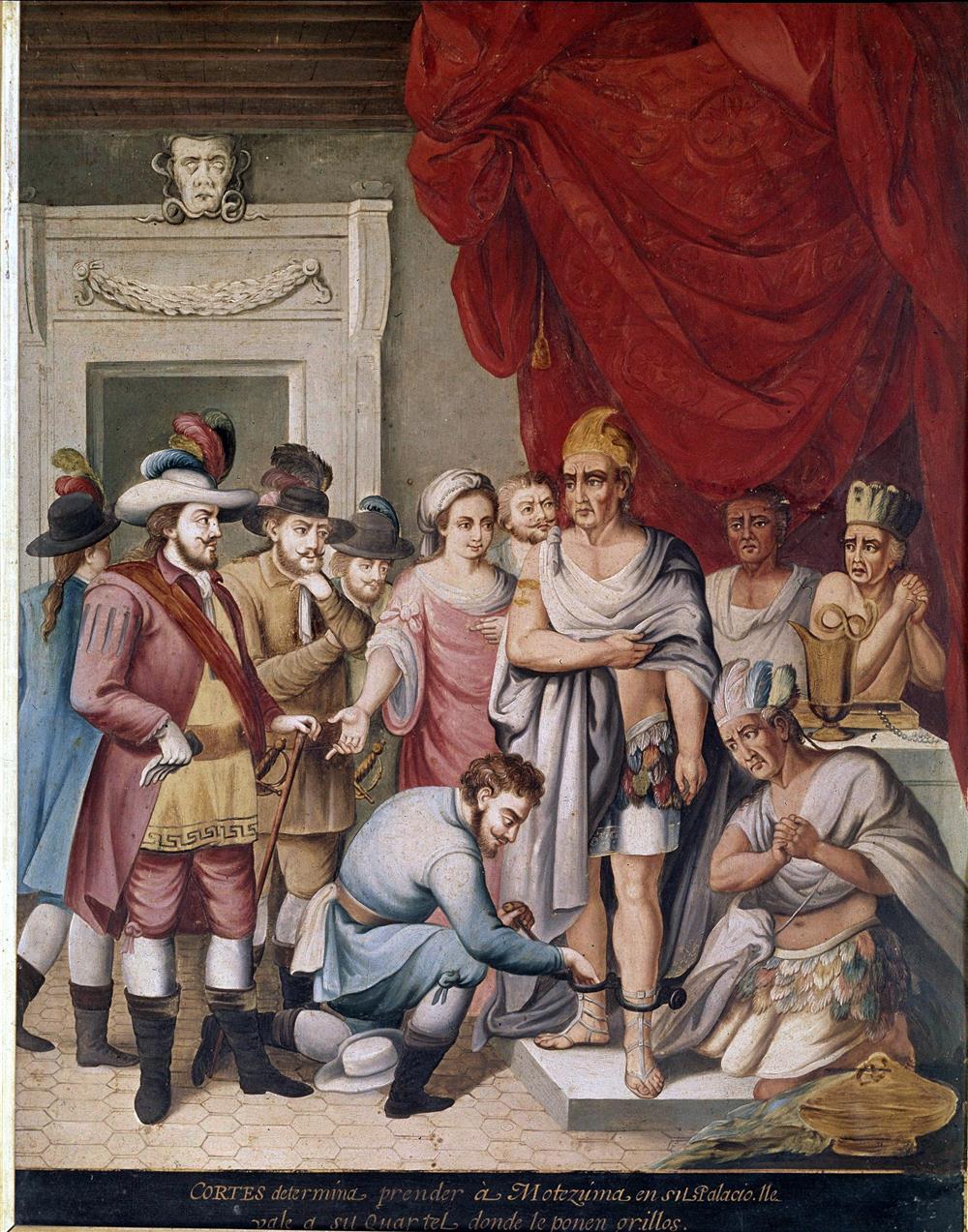 Moctezuma es apresado por Hernán Cortés