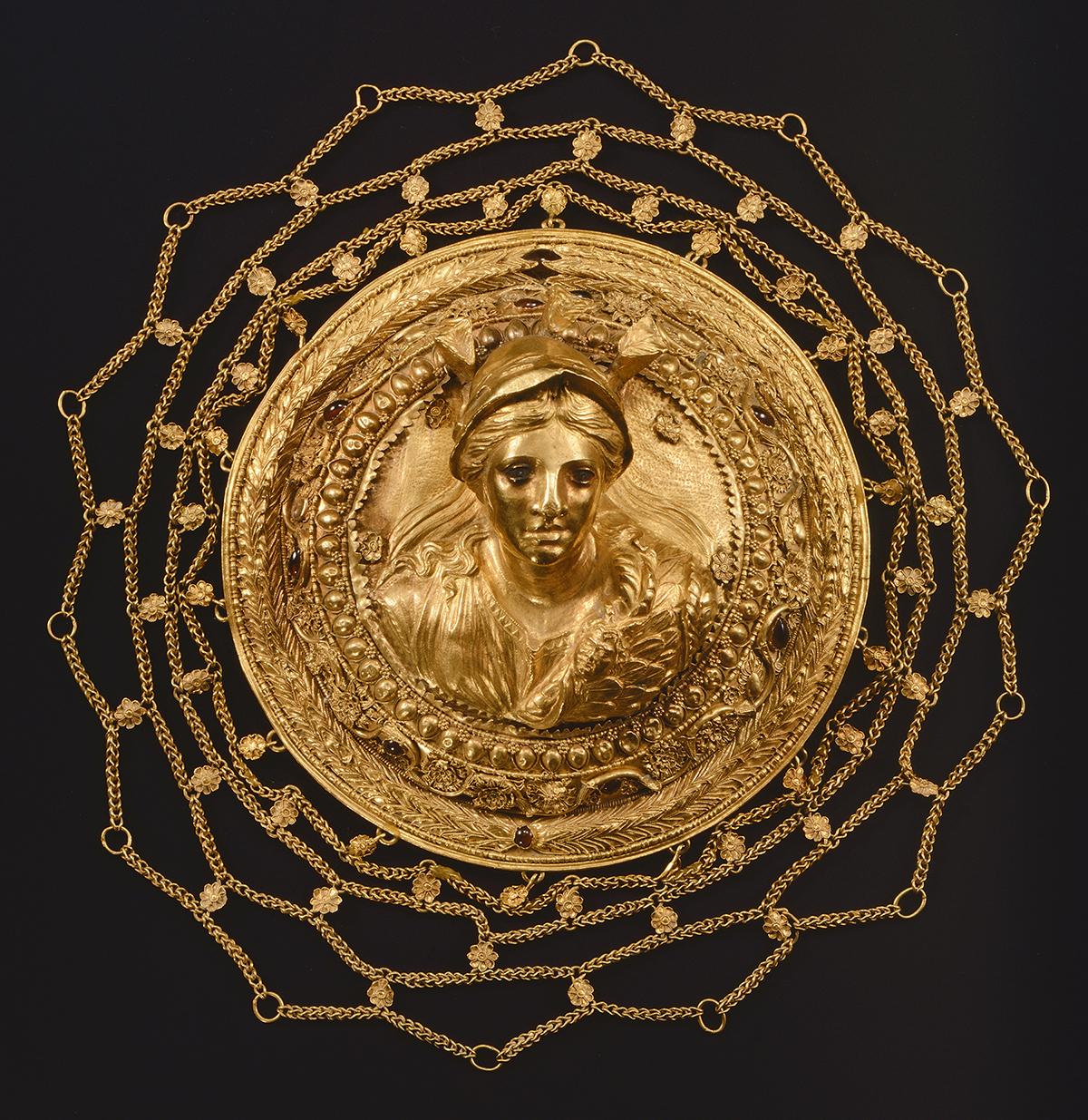 Ornamento de pelo de Atenea. Ornamento de pelo con la imagen de Atenea