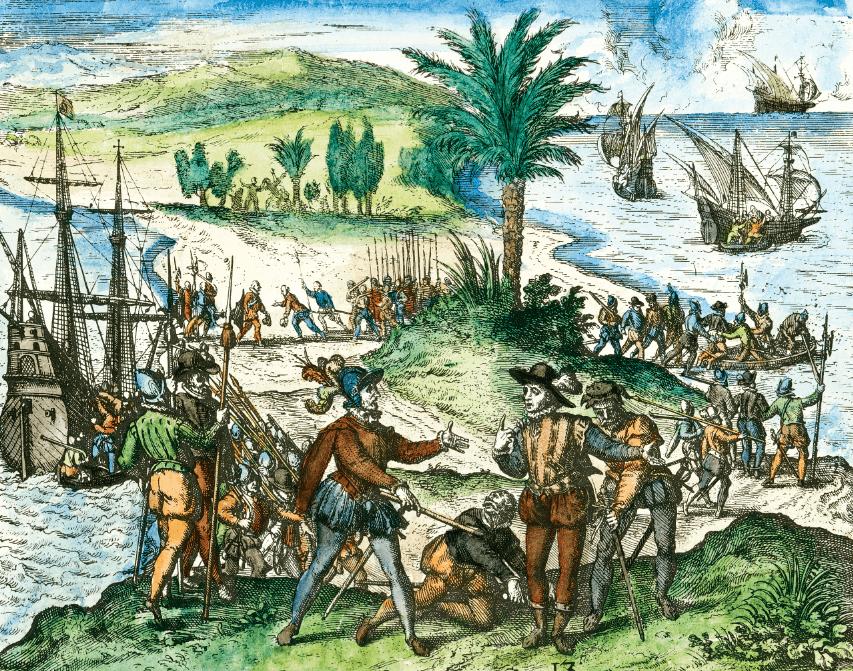 Los hermanos Colón arrestados por el corregidor Bobadilla en La Española. Grabado de Theodor de Bry. Siglo XVI