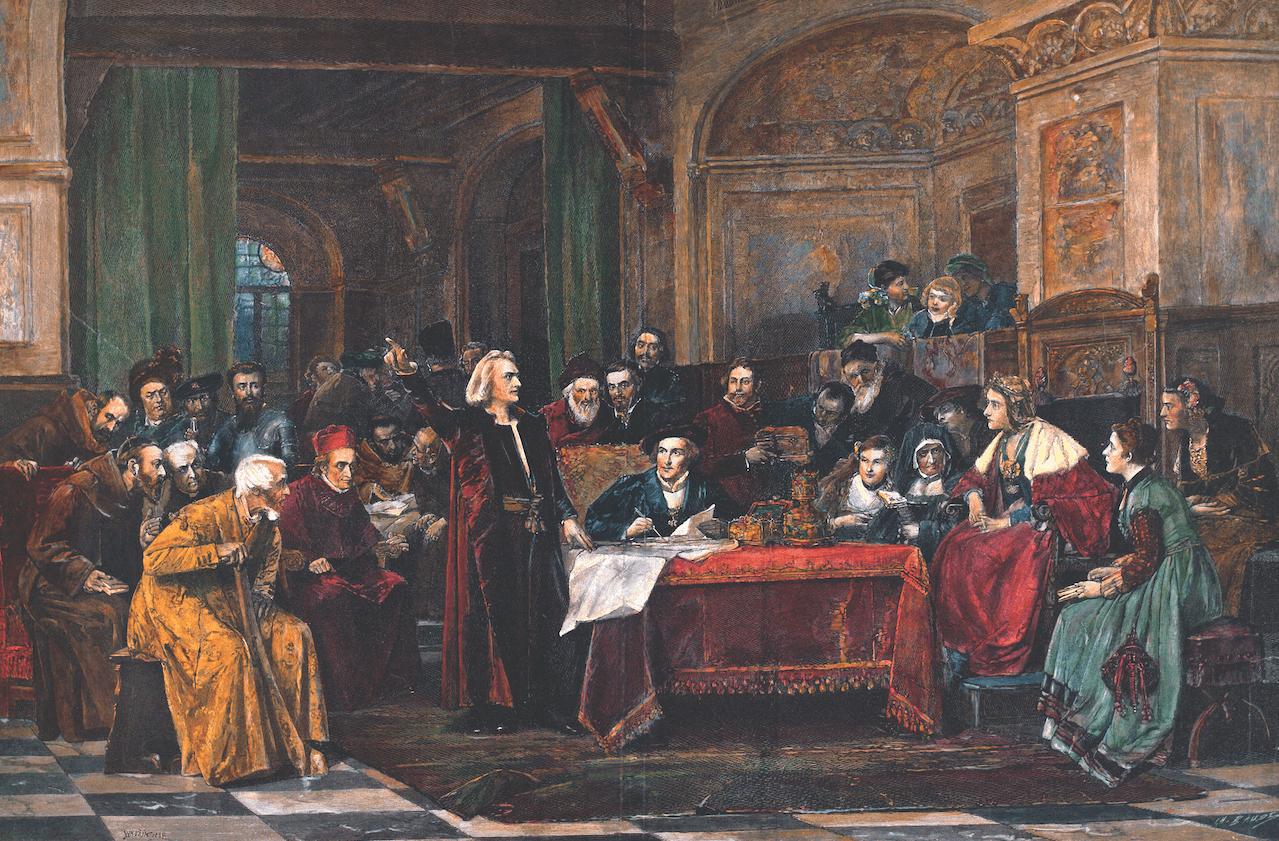 Colón en la corte de Fernando el Católico. Xilografía según un óleo de Wenzel Von Brozik. Siglo XIX.