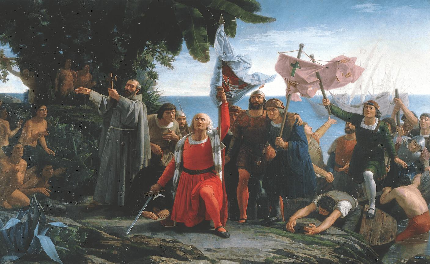 Desembarco de Colón el 12 de Octubre de 1492 en Guanhani. Óleo por Dióscoro de la Puebla.