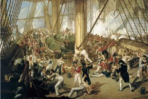 La muerte de Nelson en la batalla