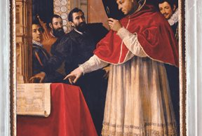 Miguel Ángel presenta el diseño de San Lorenzo al Papa Leon X