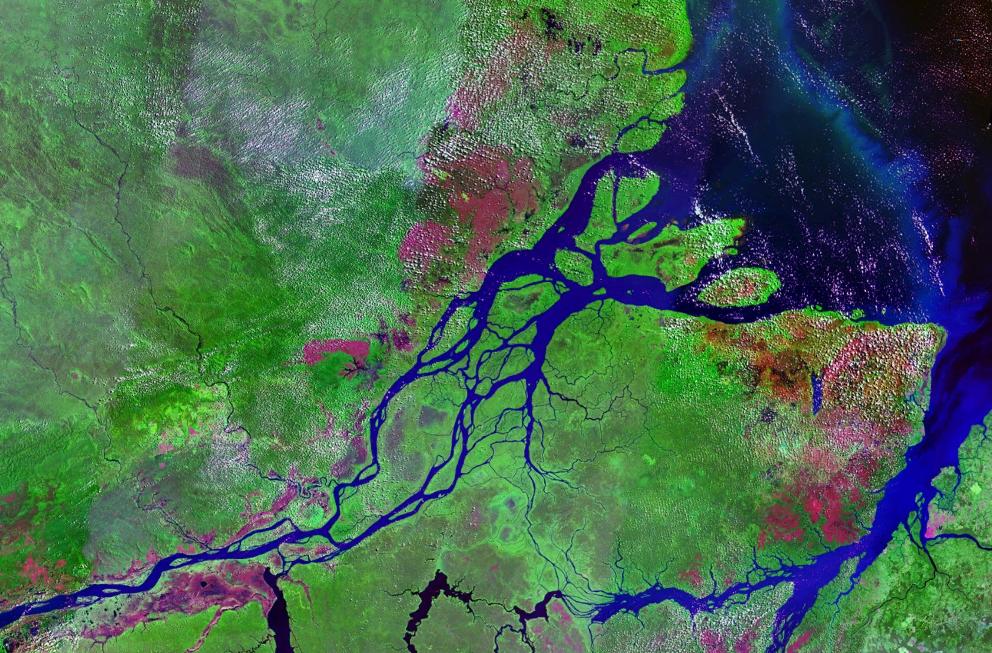 Desembocadura del Amazonas en una foto de satélite tomada en 1990