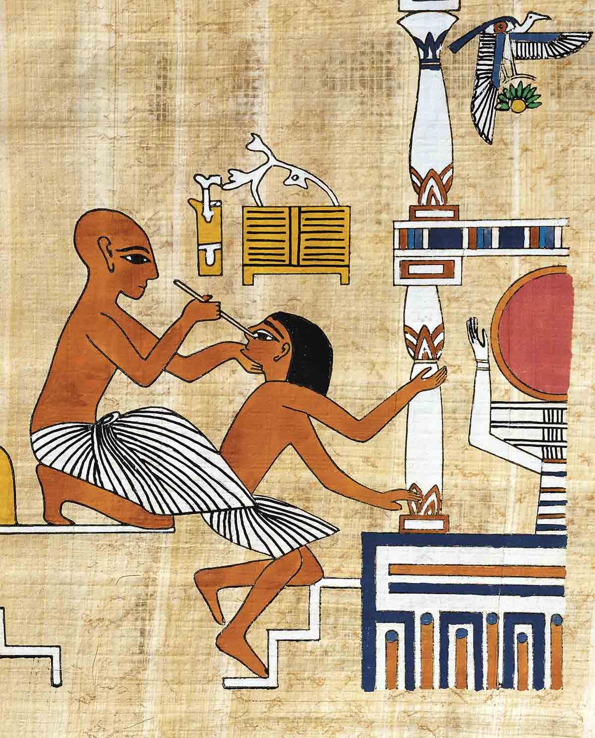 922041. Un médico cura el ojo a un paciente. Copia en papiro de una pintura mural