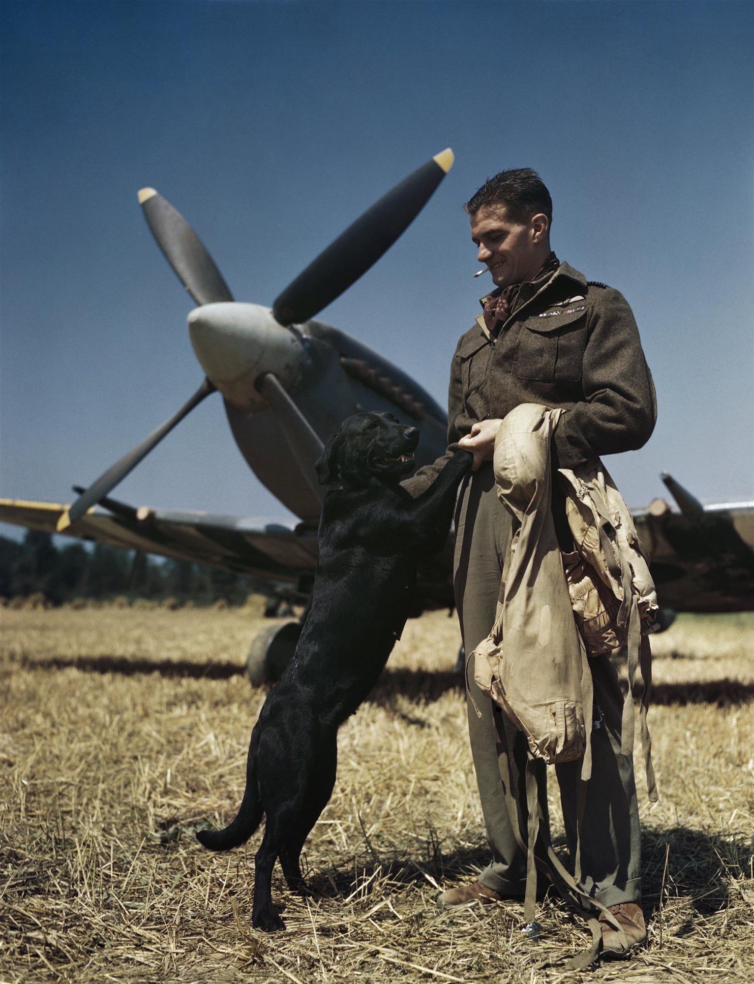 Con su avión y su perro