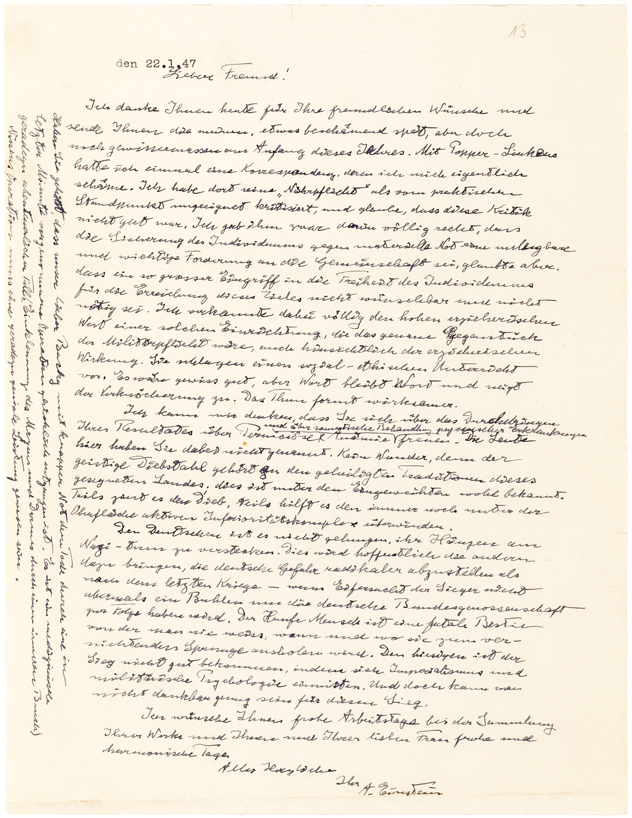 einstein1. Carta manuscrita