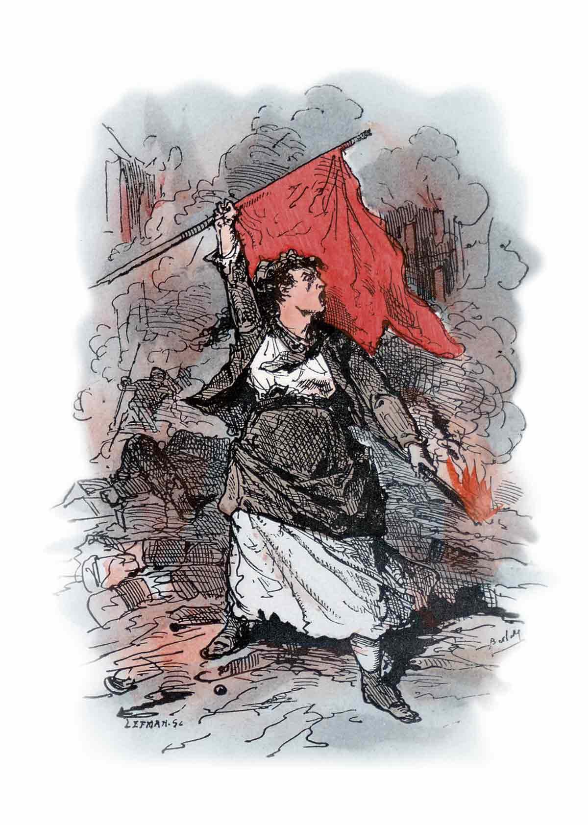 la bandera roja símbolo de la revolución socialista