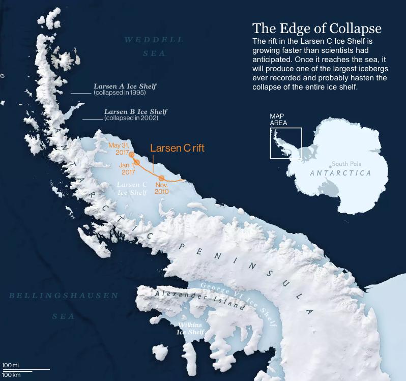 Situación de la plataforma de hielo de Larsen C en la península Antártica