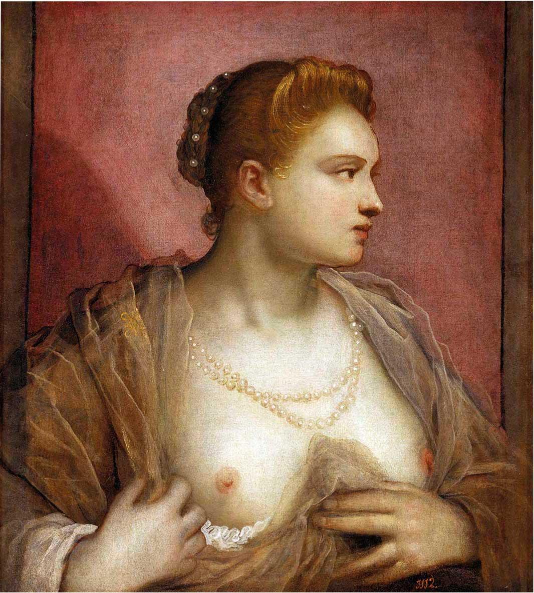 album les40081360. Dama que descubre su seno, posible retrato de Veronica Franco. Óleo por Tintoretto. 1570. Museo del Prado, Madrid.