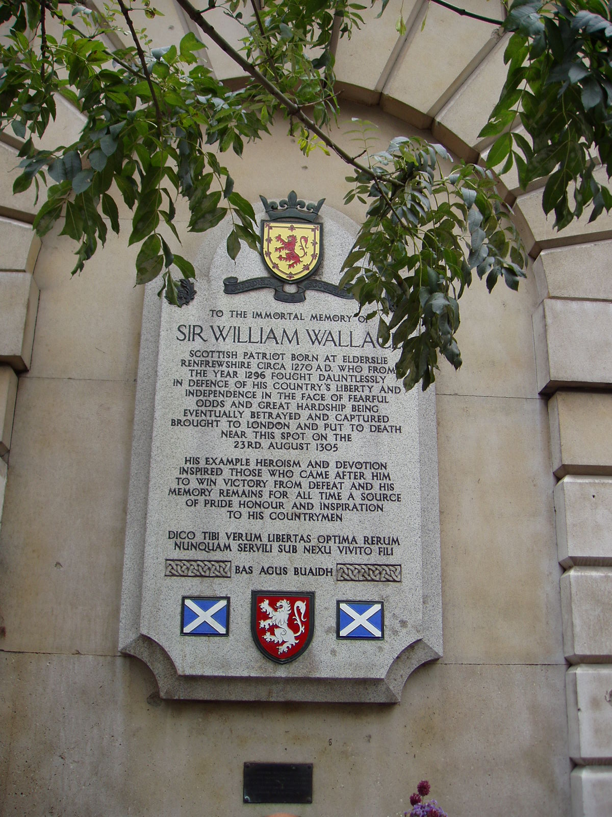 El lugar de la ejecución de William Wallace. La ejecución de William Wallace