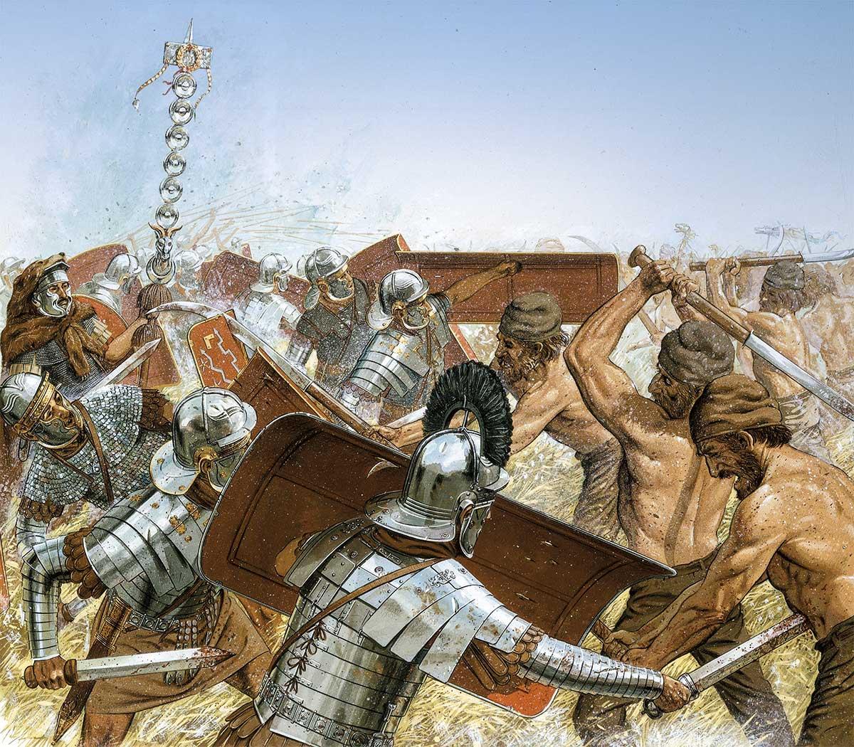 centuriones legion. Un centurión, con cimera negra, lucha con sus hombres contra el enemigo durante las guerras dacias. 101-107 d.C.