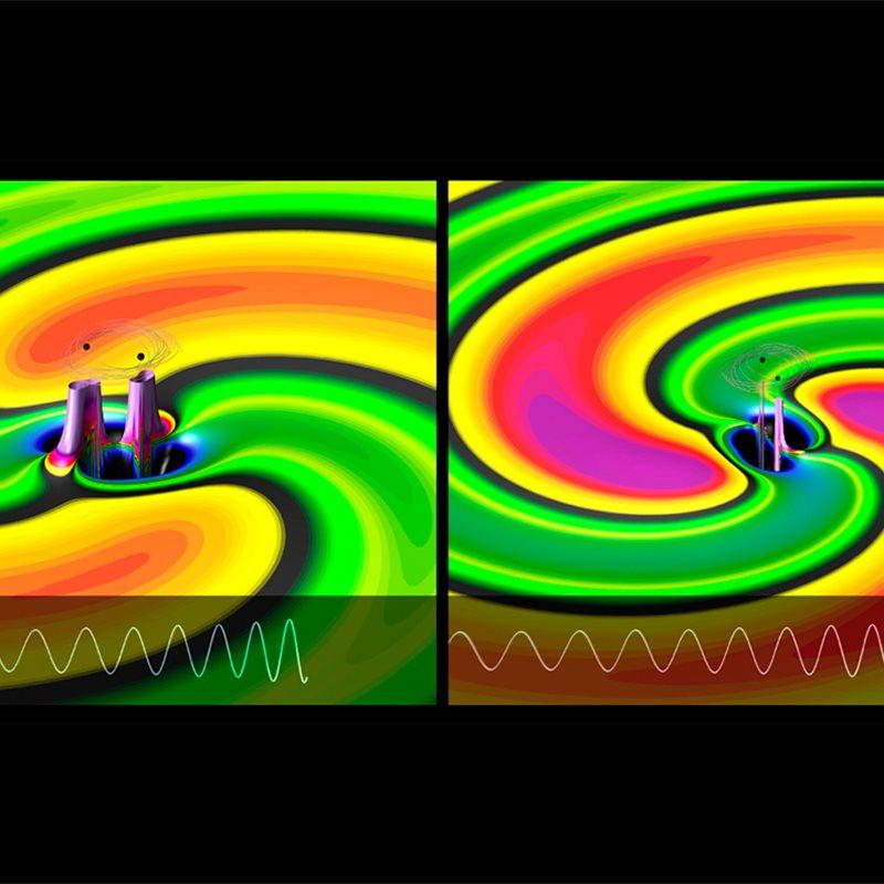 El choque de dos agujeros negros y la generación de ondas gravitacionales, paso a paso