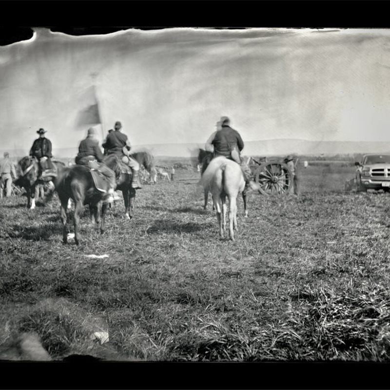Recreación de la batalla de Cedar Creek, Virginia, Estados Unidos, 1864.