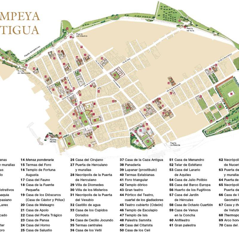 Ruinas De Pompeya Mapa.Pompeya Antigua