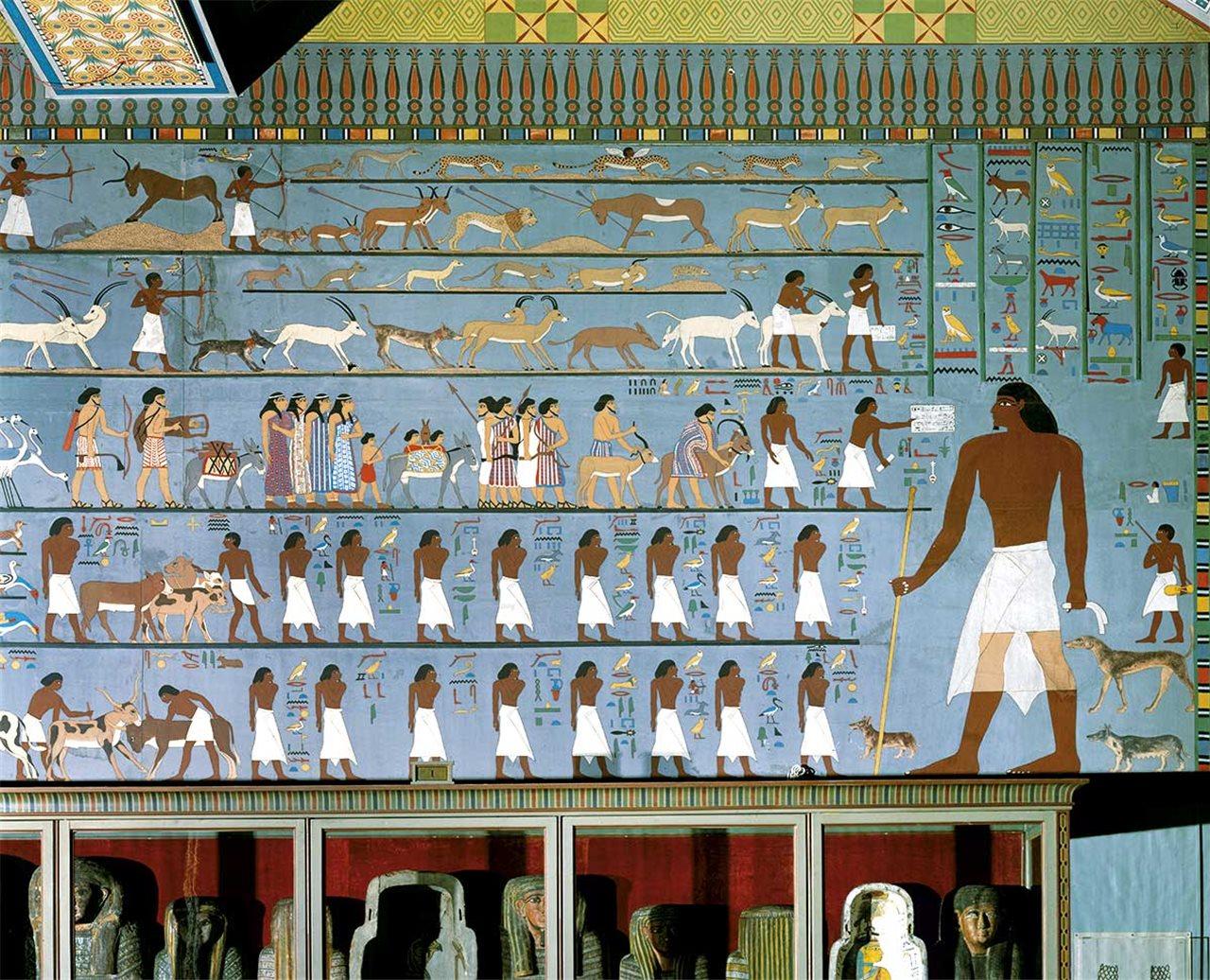Esta pintura mural que decora la tumba del gobernador Knumhotep ilustra la migración de gentes procedentes del Próximo Oriente a Egipto.
