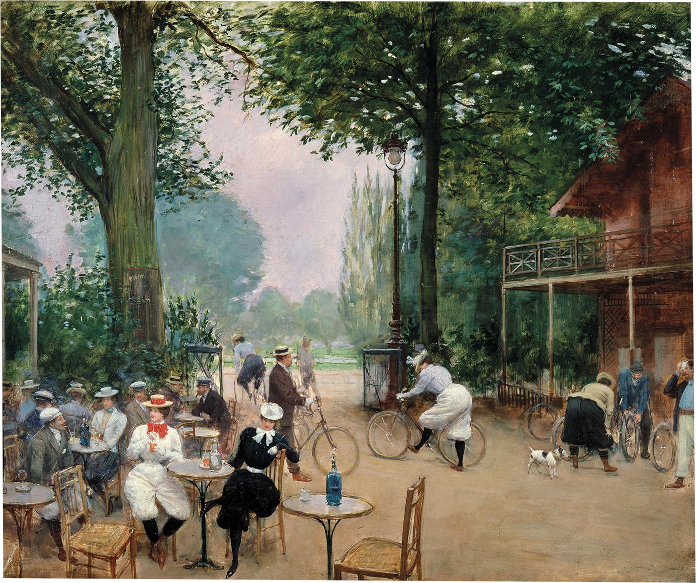 ciclistas-paris. Ciclistas en un parque de París, el bosque de Bolonia. Óleo por Jean Béraud. 1899.