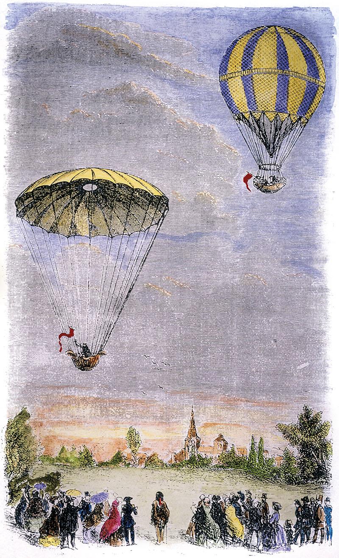 01 descenso paracaidas Garnerin. Espectáculo público.
