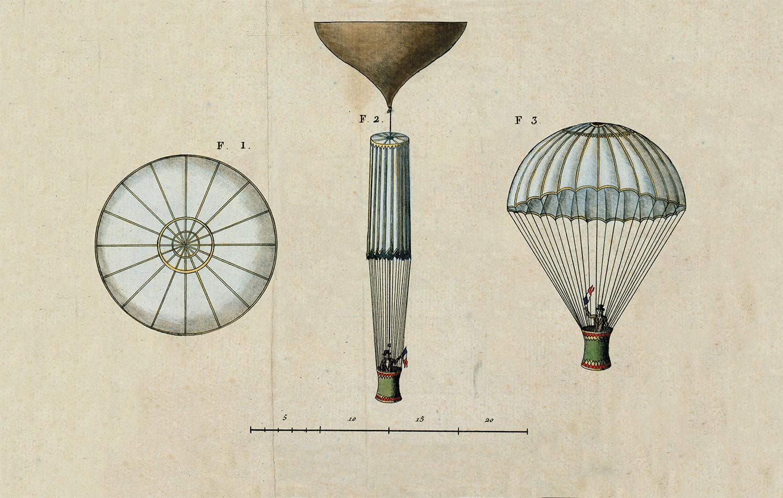 03 esquema paracaidas garnerin. Esquema del paracaídas de Garnerin.