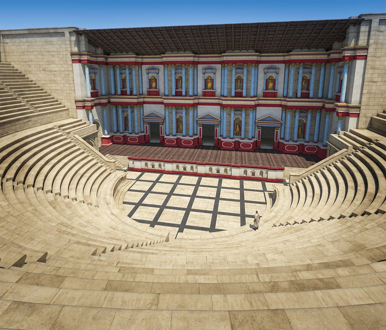 07 reconstruccion teatro sur Gerasa Jordania. El teatro sur tal como fue