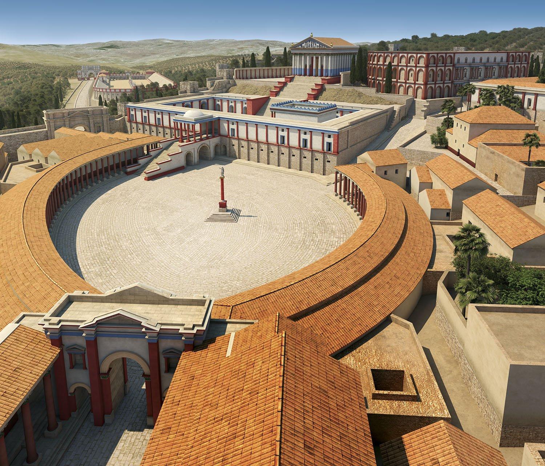 09 reconstruccion plaza oval Gerasa Jordania. La plaza oval renacida