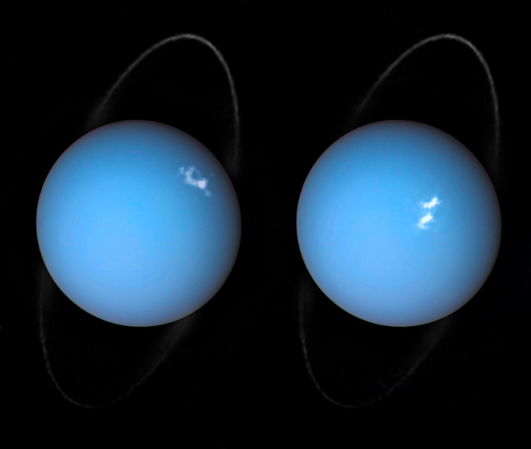 Auroras en Urano captadas por el Hubble