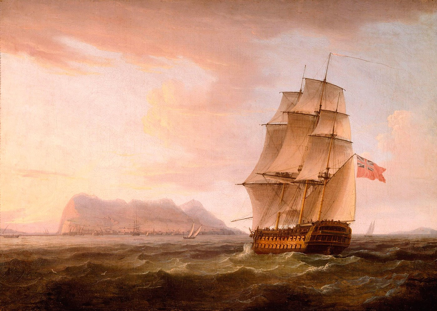 3A British Man of War before the Rock of Gibraltar by Thomas Whitcombe. Navío de guerra británico frente al peñón de Gibraltar, por Thomas Whitcombe. 1800, Denver Art Museum