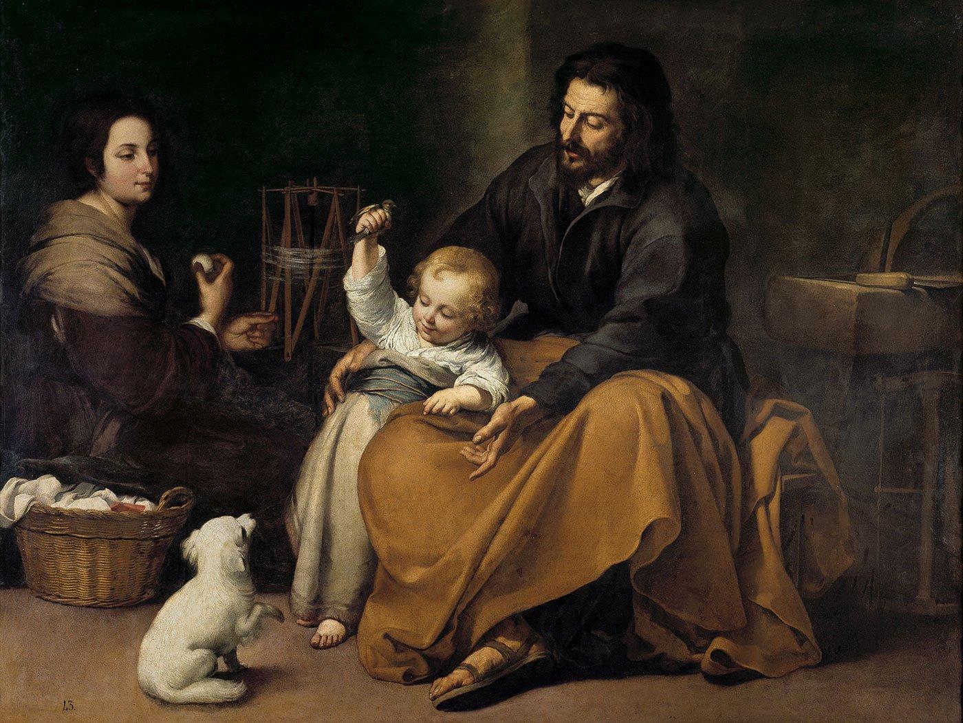 la-sagrada-familia-obra-murillo. La Sagrada Familia del pajarito. Murillo hacia 1650. Museo del Prado, Madrid.