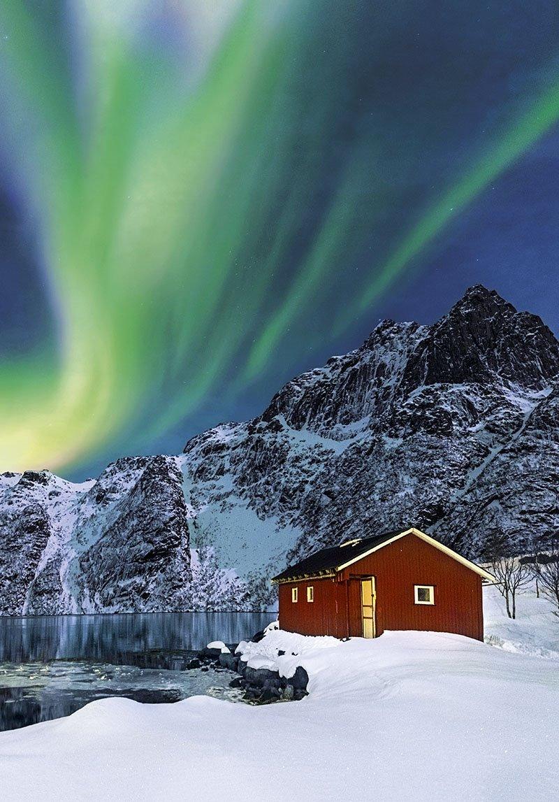 Aurora boreal Svolvear Noruega. Aurora boreal