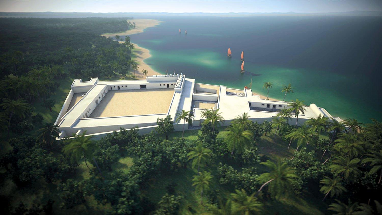 03 recreacion 3D palacio sultan kilwa tanzania. Una palacio asomado al Índico