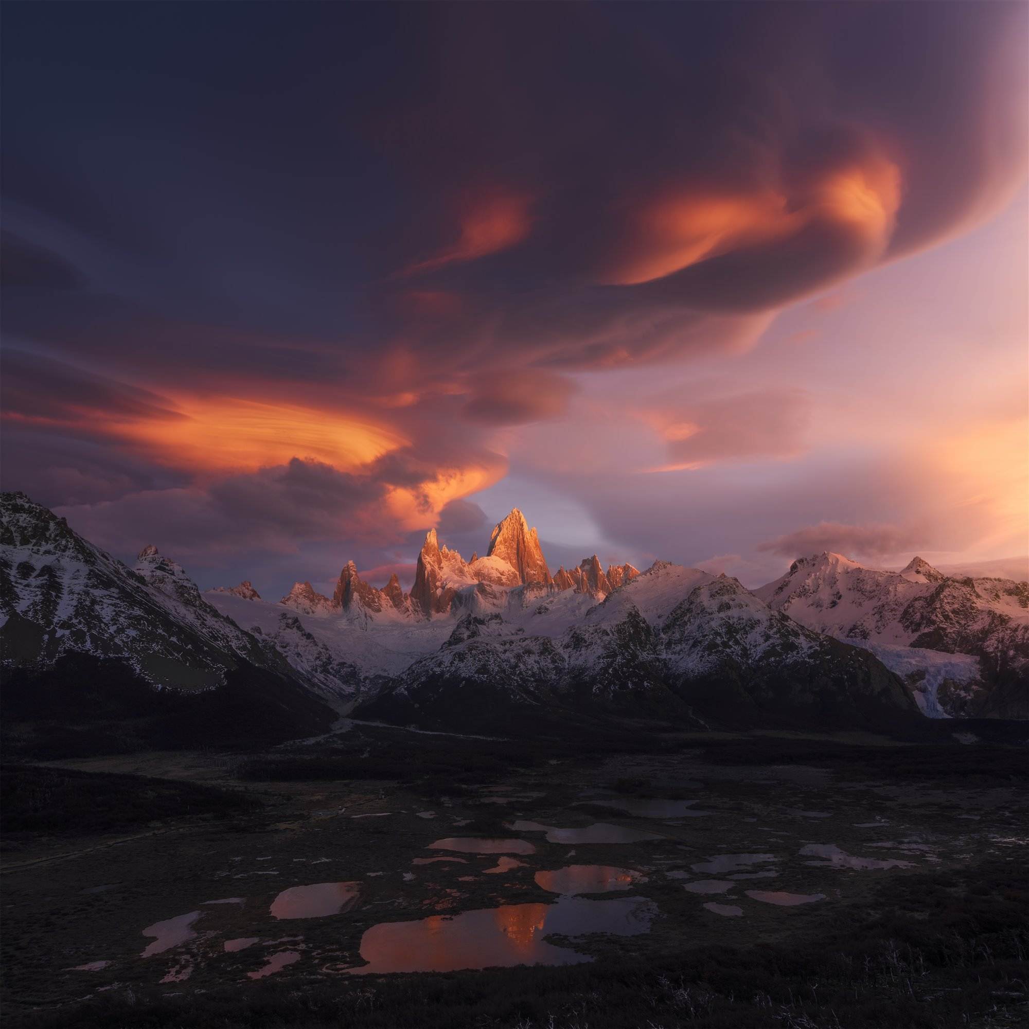 Clouds gather in South America - Fitzroy-Xiao Zhu. Fitzroy, Patagonia