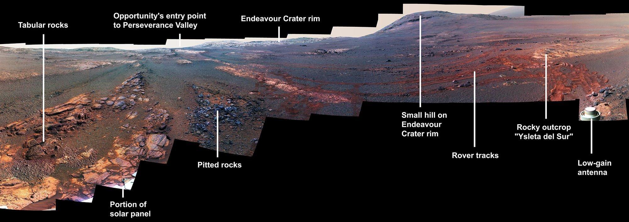 La última panorámica del rover Opportunity en Marte