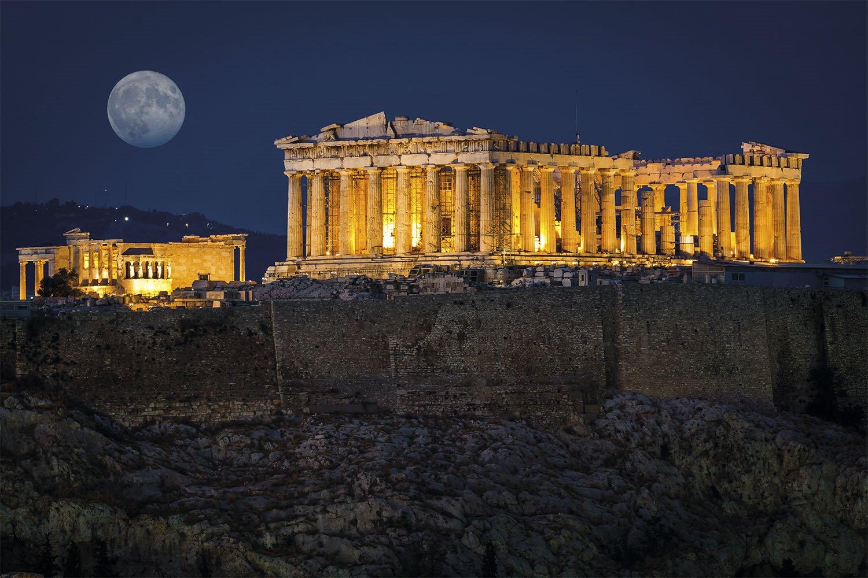 08 acropolis atenas partenon erecteion. Vista nocturna del Partenón de Atenas un día de Luna llena