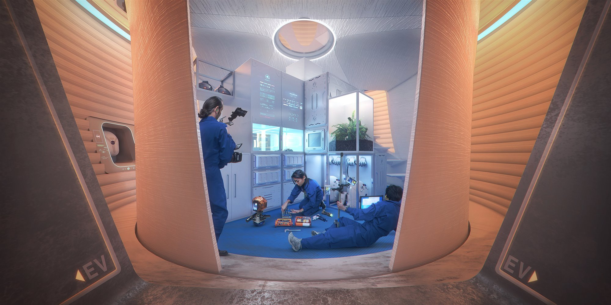 AI-SpaceFactory-Mars-Habitat-Interior-Ambulatory-2400p. Estructura de doble capa