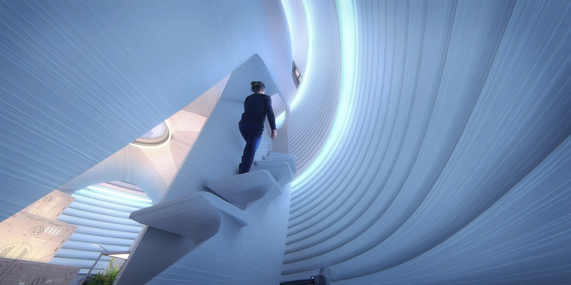 AI-SpaceFactory-Mars-Habitat-Interior-Light Stairs-2400p. Una casa soleada