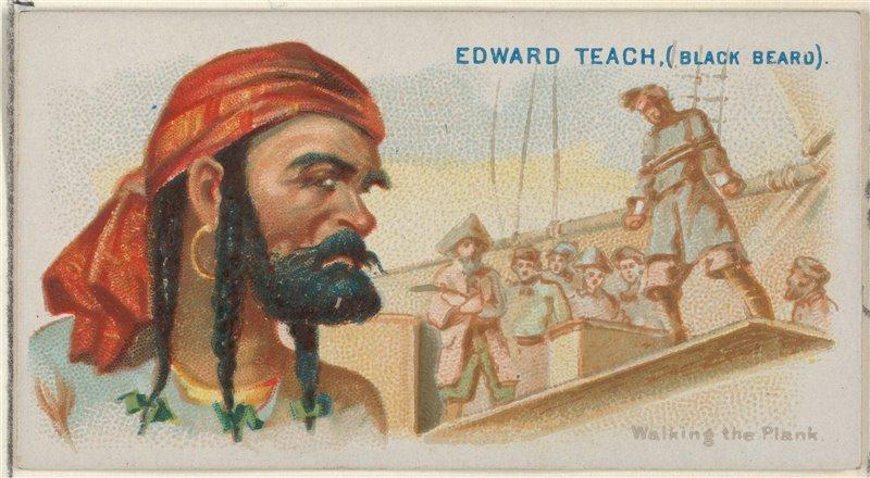 Edward Teach en un diseño para Allen & Ginter Cigarettes.