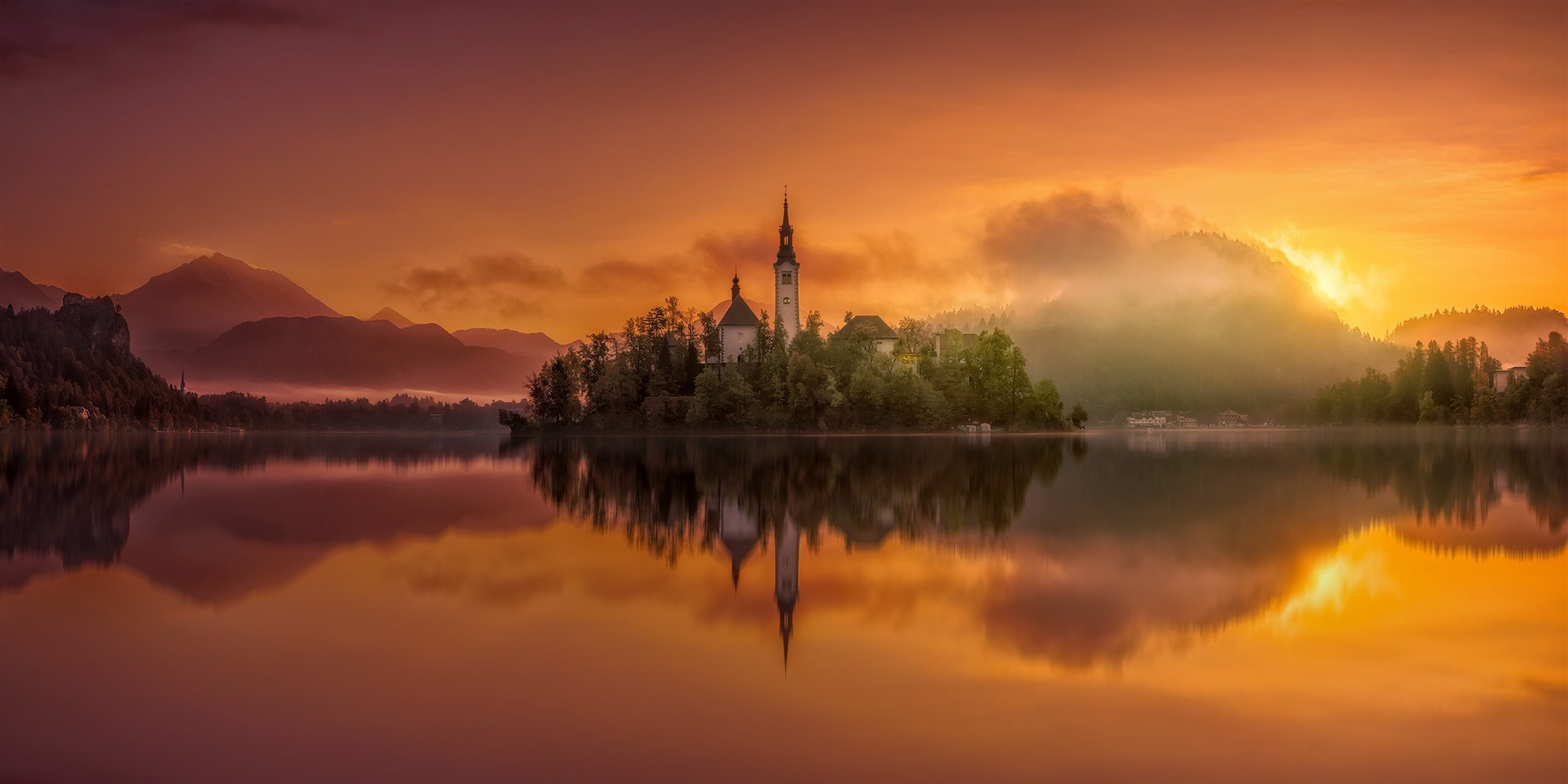 Magic Sunrise In Bled Lake