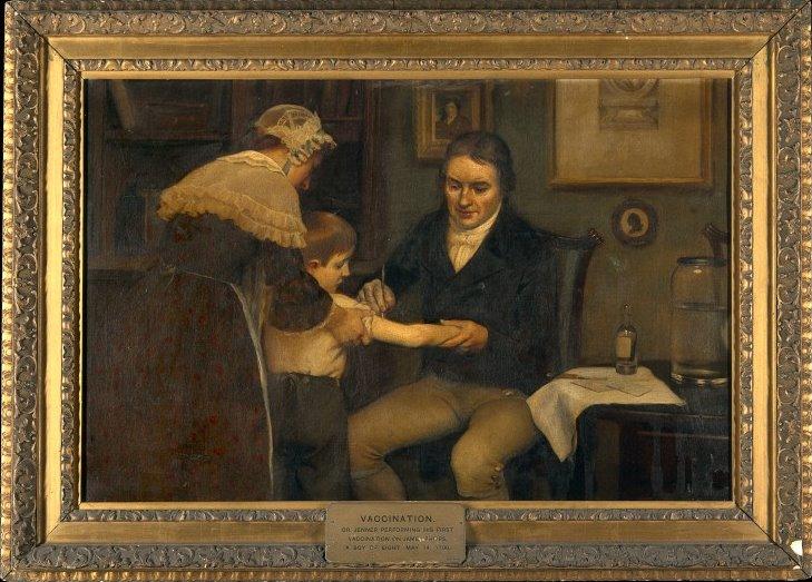 edward Jenner, pionero de la vacunación, aplicando el tratamiento a un niño.