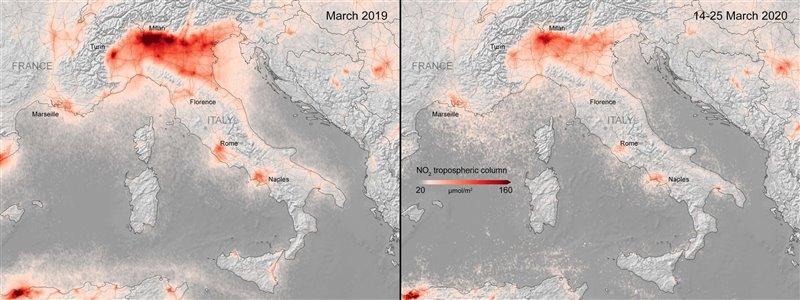 Mapa de la reducción de la concentración de NO2 registrada en el norte de Italia.