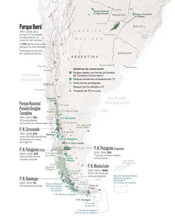 Mapa de situación de las distintas zonas protegidas de Chile y Argentina.