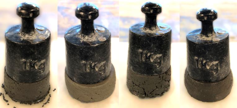 Resistencia del del compuesto a base de orina (la primera muestra, por la derecha), con respecto a otros materiales.