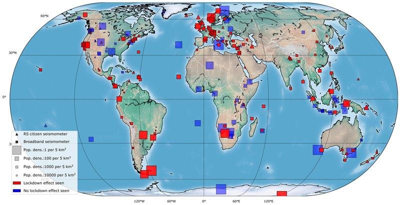 Un total de 185 (en rojo) de las 268 estaciones sísmicas percibieron una reducción del ruido sísmico.