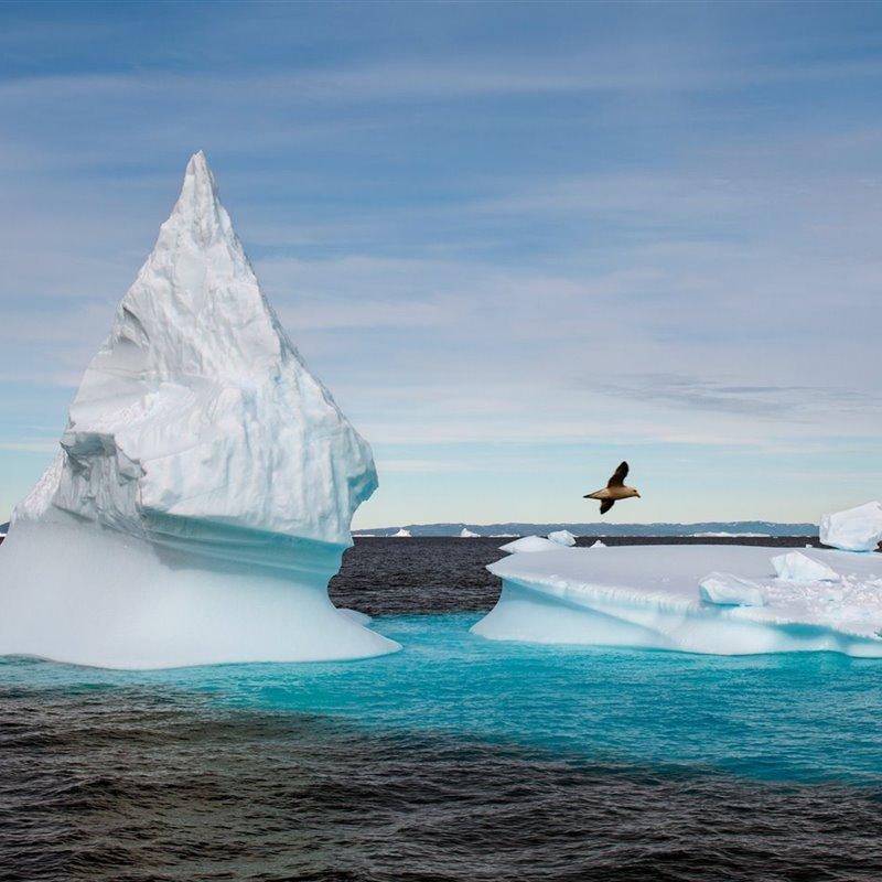 Iceberg flotando en el agua frente a la costa de Groenlandia.